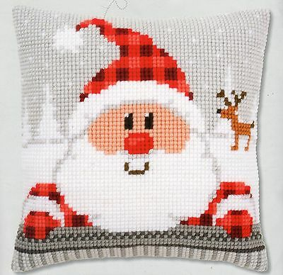 Santa In A Plaid Hat Tapestry Canvas Cross Stitch Cushion Front Kit Vervaco
