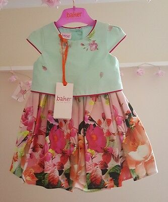 Baby Girls 🌹TED BAKER🌹 6-9 months Mint Woodland🍁 Theme Dress BNWT-🐿