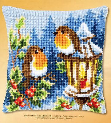 Robins At The Lantern Tapestry Canvas Cross Stitch Cushion Front Kit Vervaco