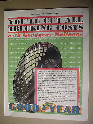 Vintage 1931 GOODYEAR TIRES, Magazine Print Ad. Good Year Baloons.