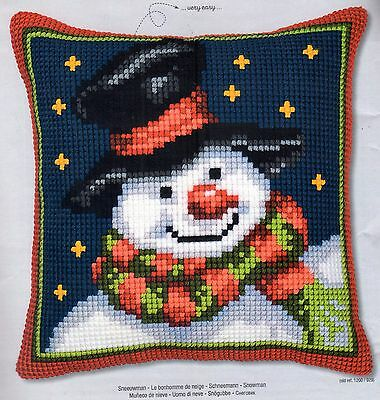 Starry Night Snowman Tapestry Canvas Cross Stitch Cushion Front Kit Vervaco