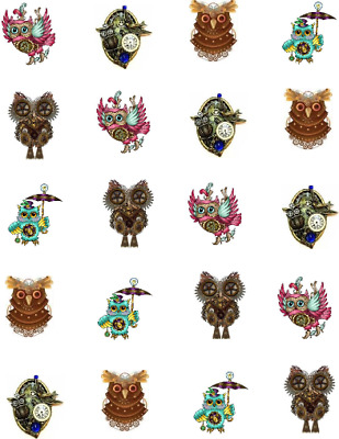 Steampunk Owls  Waterslide  / Water Transfer Nail Decals/Nail Art