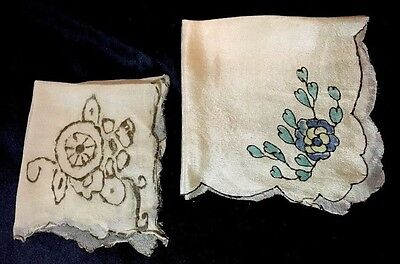 """Lot of 2, AntIque SHEER SILK HANKIES Painted Design, Edges, Doll Scale 6.5 to 9"""""""