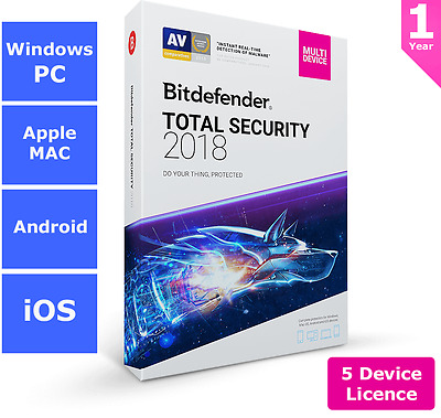 Bitdefender Total Security 2018 - 5 Devices - 1 Year > UNDER $45.00 MADNESS!