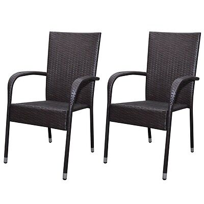 New Rattan Garden Furniture Dinner Chair Set Dining Chairs 2 pcs Brown Durable