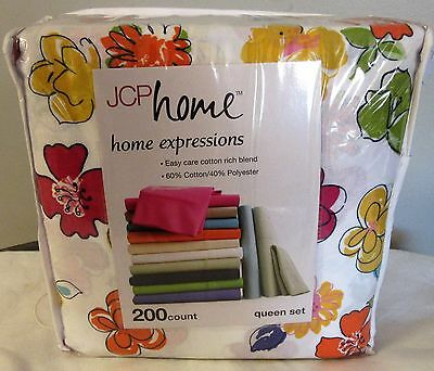 Vintage Flower Power Sheet Set Queen size JCP Home Expressions new in package