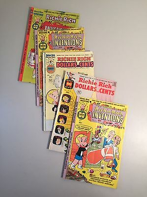 Lot of (5) Richie Rich Bronze Age Comic Books-Inventions, Dollars & Cents- Harve