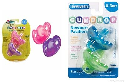 The First Years Gumdrop Newborn Pacifiers Silicone Soother Boy Girl 2pk 0m+