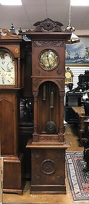 "Beautiful Germany Grandfather Clock Signed Catedral Gong Case 96"" 1910"
