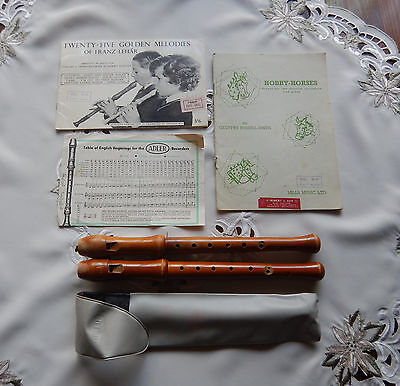 2 Vintage Adler Wooden Descant Recorders And Music Books