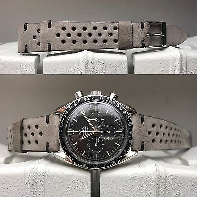 20 mm Wolf Gray Leather Rally Strap band cinturino for vintage watch speedmaster