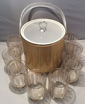 8 ServeMates by Culver Rocks Glasses & 1 DRULANE by Towle Ice Bucket - NICE!