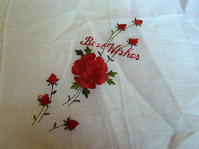 New Best Wishes Red Roses Embroidered White Linen Hanky Handkerchief