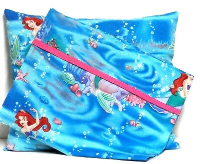 Ariel Toddler Pillow and Pillowcase set on Turquoise Cotton AM1-31 New Handmade