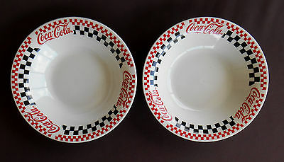 COKE Checkered COCA COLA Soup Salad BOWLS Set of 2 Gibson China 8 Inch Coupe