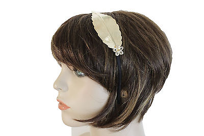 New Women Headband Gold Metal Long Leaf Fashion Hair Accessory Black Band Flower