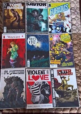 9 #1's Comic Lot Violent Love Planetoid Tomb Raider Panzerfaust Furious Wayward