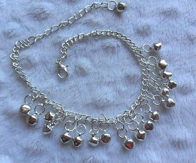 Silver Plated Fashion Anklet With Bell Shaped Dangly Charms  A28