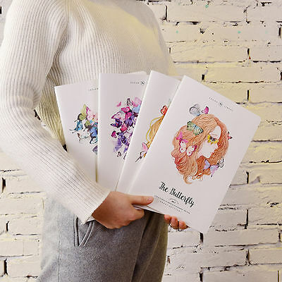 Portable Butterfly Girl Paper Notepad Memo Diary Notebook Exercise Book School