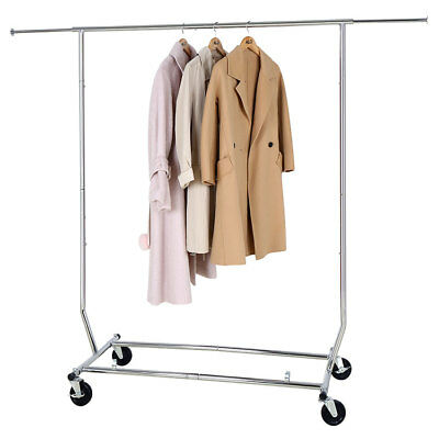 Home Rolling Adjustable Chrome Single Rail Clothing Garment Stand Rack