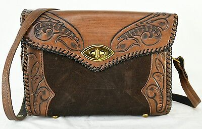 Tooled Leather & Suede Hand Bag Medium Hand Made Vintage Unique Weekend Purse