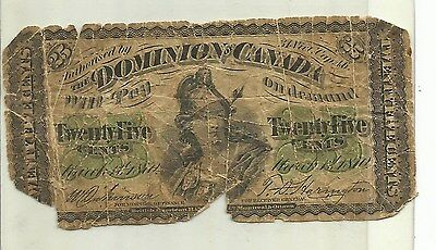 1870 Dominion of Canada 25 Cent Note - CHEAP !!!