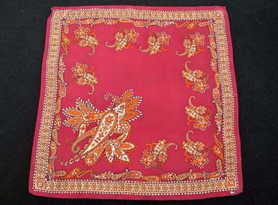Vintage 1960's Printed Handkerchief Hanky - Red & Gold Coloured Paisley Design