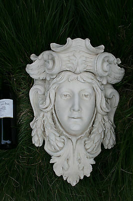 Antique Xl heavy French Chalkware plaster Caryatid goddess head wall console no1
