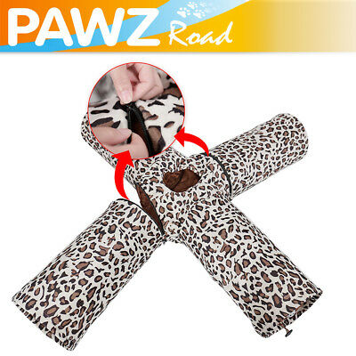 4 Way Pet Cat Tunnel Leopard Kitten Toy Crinkly Collapsible Tunnel With Ball Toy