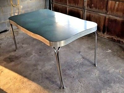 1950s Vintage Retro Green Formica Kitchen Table Cracked Ice Chrome Leaf 5ft x 3'