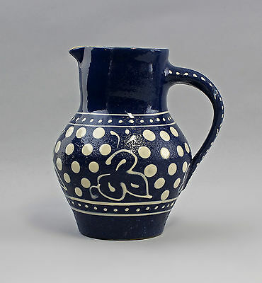pitcher Bürgel Thuringia blue and white Engobe painting H19cm 99845430