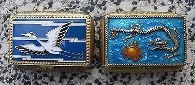 2 Pillendosen wohl  China Emaille Dosen Motiv Drache Storch
