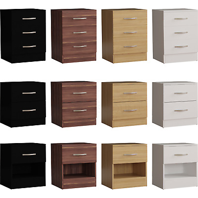 Riano Bedside Chest 1 2 3 Drawer Wood Bedroom Storage Furniture Cabinet Unit