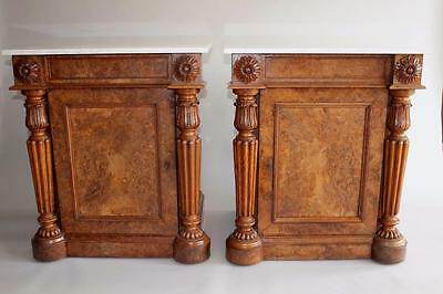 Impressive Pair of Antique Gillows Walnut & Marble Cabinets