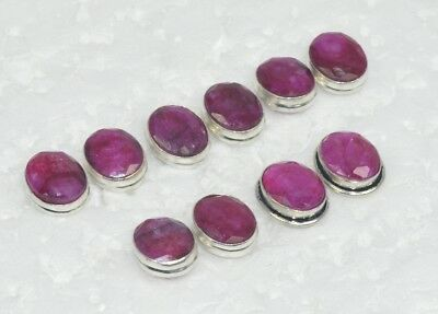 Wholesale 5Pair 925 Solid Sterling Silver Cut Natural Red Ruby Stud Earring Lot