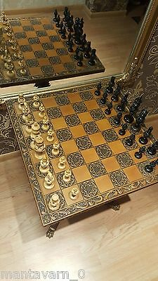 Hurry up! Antique chess set with board and legs