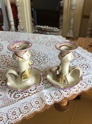 """A Pair Of Greek Pottery Candlesticks """" Monastery Gifts"""""""