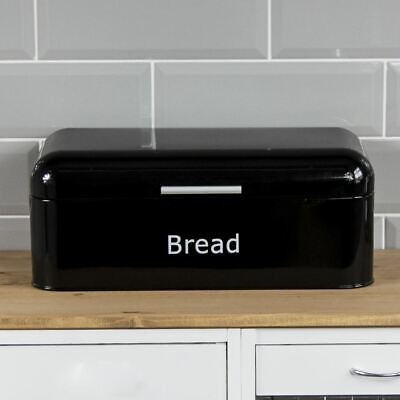 Bread Bin Curved Black Steel Kitchen Top Storage Roll Loaf Container Box