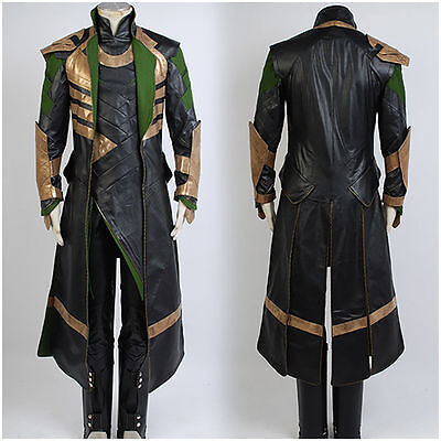 Thor The Dark World Avengers Loki Halloween Uniform Suit Outfit COSplay Costume#
