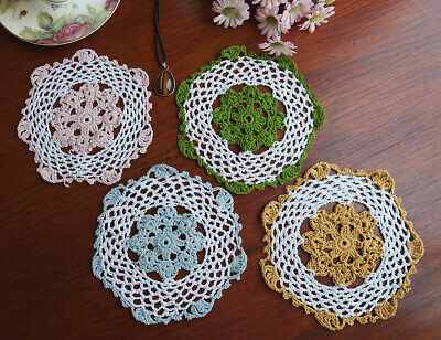 Cotton Hand Crochet Lace Doily Placemat Round 16CM White in 4 Colours Edging