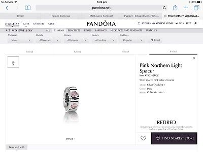 Authentic Pandora Sterling Silver Pink Northern Light Spacer, As New, Retired
