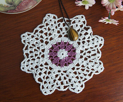 Cotton Hand Crochet Doily Crocheted Doilies Placemat Octangle 18CM White Purple