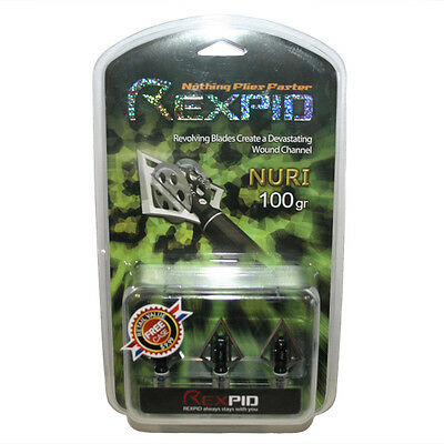 REXPID NURI 2-Blade 100gr Broadheads With Rotary Wing Blades - Free Freight !