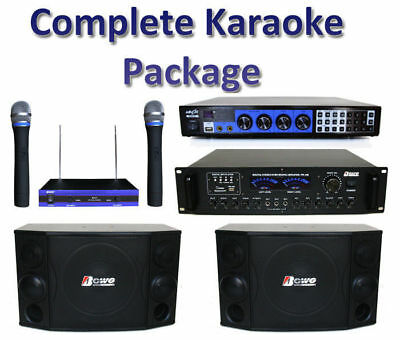 KARAOKE DJ MUSIC SPEAKERS PACKAGE, mixer, amplifier, wireless microphones system
