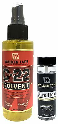 Walker Tape C-22 Solvent Remover 4 Oz + Ultra Hold Medium Adhesive 1.4 Oz/41.4ml