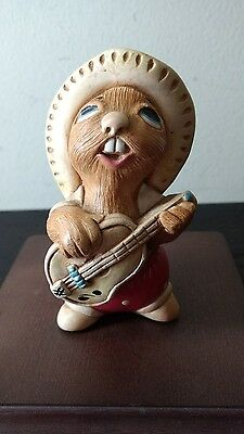 Pendelfin Rocky Rabbit Playing the Banjo in Red Trousers Figurine England EUC