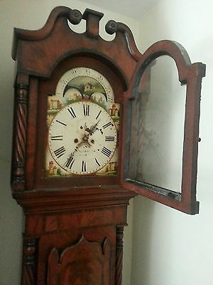 Longcase Grandfather Clock Stunning Mahogany Moonphase Working c1830