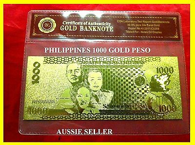 1000 Paso Philippines Gold  New Banknote Rare 3D Unc 24Kt Gold Bank Note + Coa