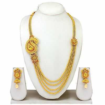 New South Indian Traditional Gold Plated Necklace Earrings, Temple Jewelry Set
