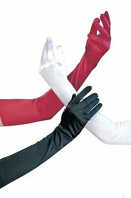 Long Elbow Length Satin Opera Gloves Silk Red Black Or White Gloves -Fast Ship!